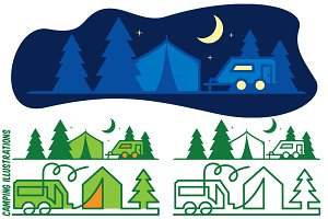 Camping Flat Vector Illustration