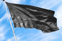 Black blank flag mockup