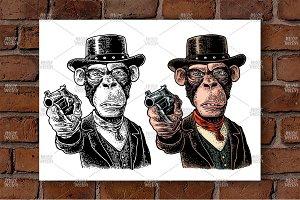 Monkey gentleman hold revolver