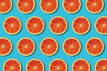 Top view red orange slices pattern