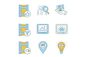 Film industry color icons set