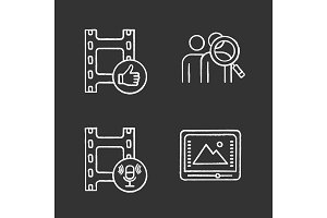 Film industry chalk icons set