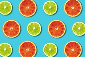 Vibrant citrus fruit food background