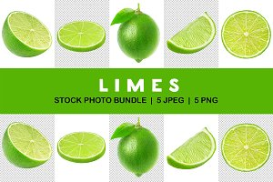 Isolated collection of cut limes