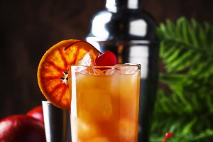 Summer tequila sunrise cocktail with