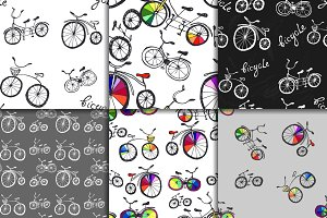 Seamless doodle bicycle patterns