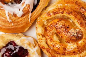 Variety of viennoiserie or Danish pa
