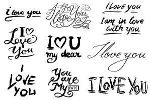 I love you text. Hand drawn