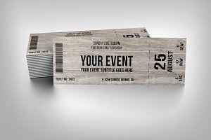 Wooden event ticket
