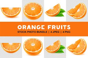 Isolated orange slices collection