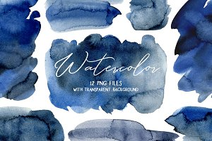 Navy Blue Watercolor Stains Splashes