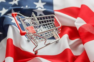 Shopping cart on the national flag o