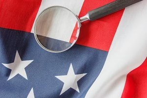Magnifying glass on the national fla