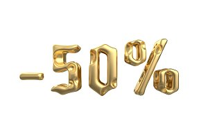 The sign -50off. Made of gold metal