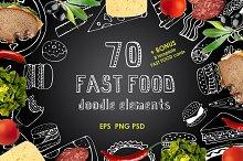 70 Fast Food Doodle elements