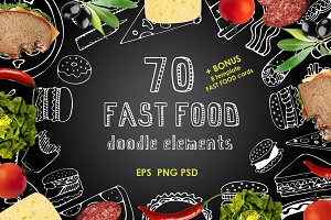 70 Fast Food Doodle elements