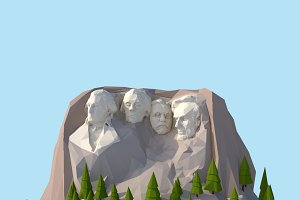 Cartoon Low Poly United States Rushm