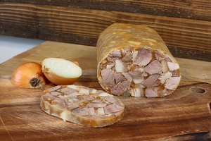 Home made head cheese with onion