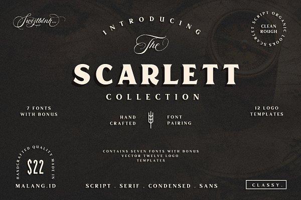 Display Fonts: Swistblnk Std. - Scarlett Font Bundle + 12 Logos