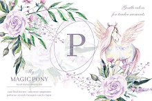 My magic Pony. Watercolor collection