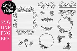 Hand Drawn Floral Frames Graphic