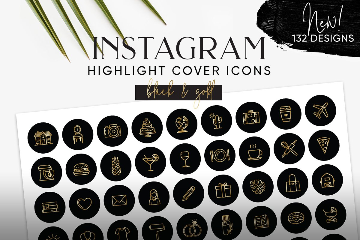 Black & Gold Instagram Cover Icons