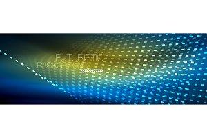 Glowing light particles in dark neon