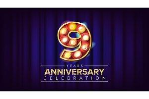 9 Years Anniversary Banner Vector