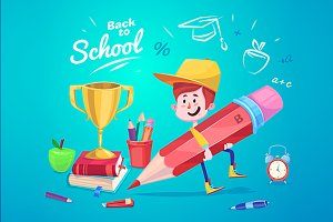 Vector Cute School Child