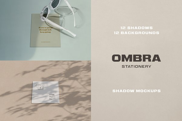 Product Mockups: Pixelbuddha - Ombra Stationery Shadow Mockups