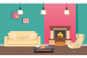 Designer Room with Fireplace and