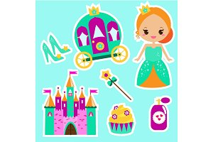 Princess stickers. Cute girls icons