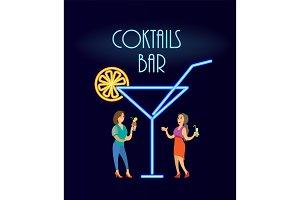 Cocktails Bar Neon, Women in Evening