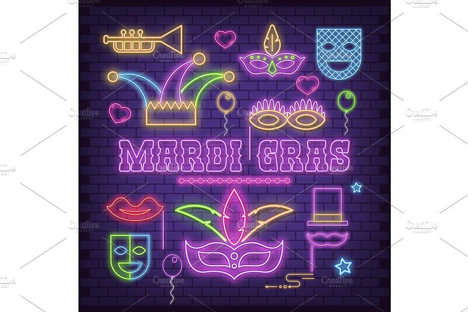 Mardi Gras Neon Icons