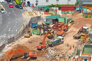 Street construction site  Singapore
