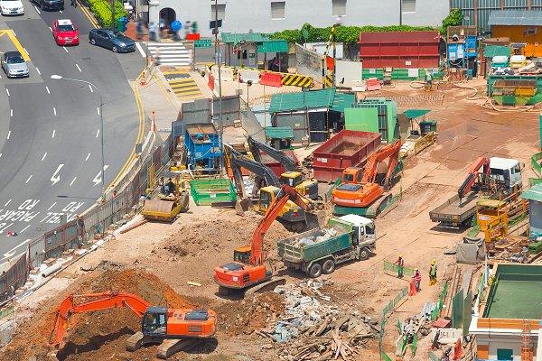 Stock Photos - Street construction site  Singapore