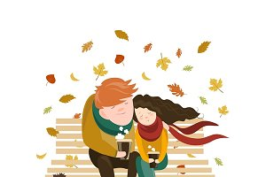Couple sitting on bench,drink coffee