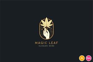 Magic Leaf Cannabis Logo Template