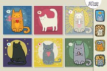 Set of cute cartoons cats
