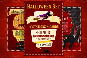 Halloween Invitations Set + Bonus