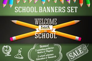 Back to School Banners Set + Bonus