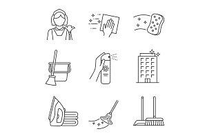 Cleaning service linear icons set