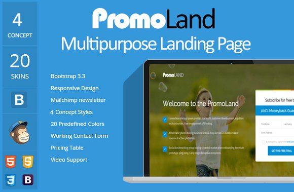 PromoLand- Multipurpose Landing Page in HTML/CSS Themes