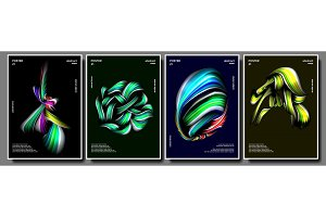 Abstract Shape Poster Set Vector