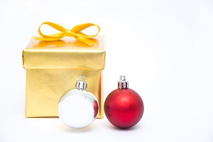 gift box and christmas balls
