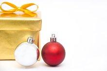 gift box and christmas balls