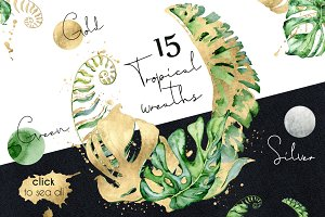 15 Tropical wreaths watercolor