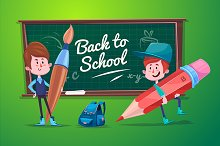 Cute School Children. Vector