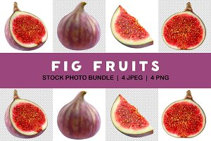 Isolated collection of cut figs