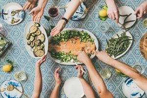 Friends sharing mediterranean style